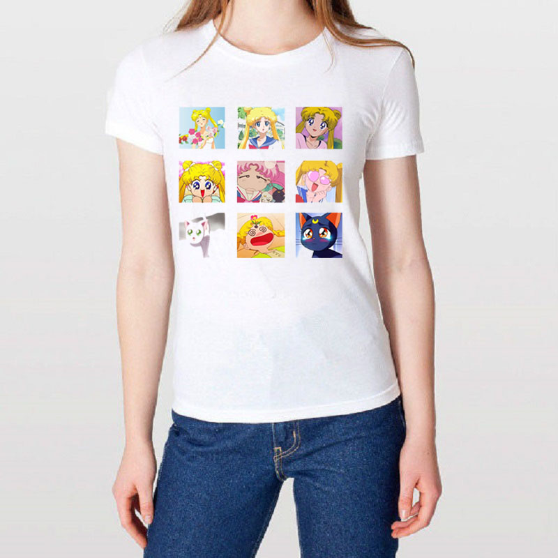 Japanese Vogue Sailor Moon Printed Woman t shirts Plus Size White Summer Top Short Sleeved Modal Casual Funny Tshirt tee Tumblr