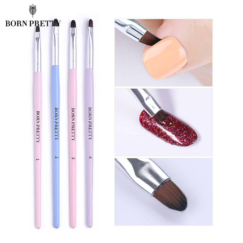 BORN PRETTY Nail Cleaning Brush UV Gel Powder Dust Cuticle Clean Pink Blue Handle Round Pen Manicure Nail Art Tool