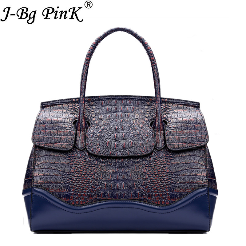 2018 Fashion Women Bag 100% Real genuine Leather Handbags Good Quality Tote Bag Luxury Crocodile pattern Shoulder Messenger bag luxurious crocodile pattern shoulder bag 100