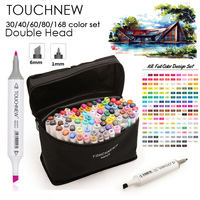 TOUCHNEW Art Sketch Marker Pen 30 40 60 80 168 Colors Dual Head For Artist Manga