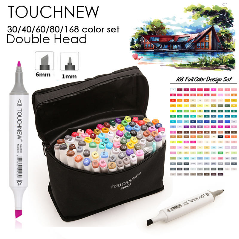 TOUCHNEW 30/40/60/80/168 Colors Dual Head Art Sketch Marker Pen For Artist Manga Graphic Drawing Design marker art supplies dainayw 12 cool grey colors marker pen grayscale dual head art markers set for manga design drawing school student supplies