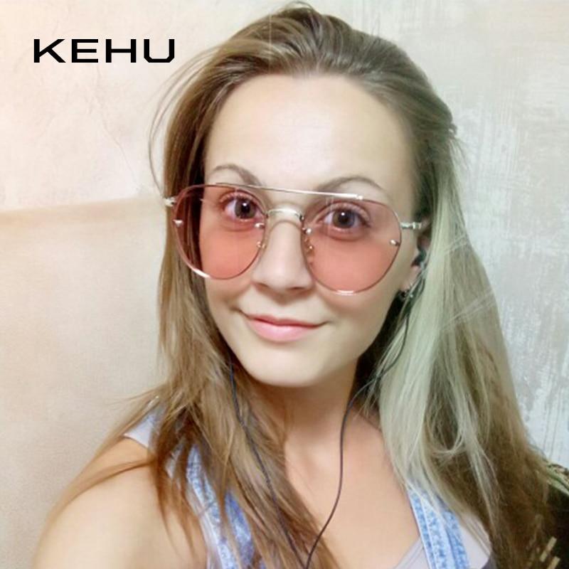 fb4e41d58c4b KEHU Brand Design New Fashion Sunglasses Women Double Beam Round Sunglasses Men  Clear lens Vintage Round Glasses UV400 K9023-in Sunglasses from Apparel ...