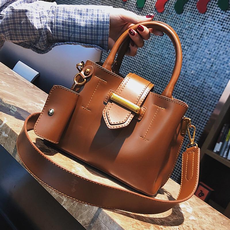 ETAILL 2018 New Arrive Bucket Bags Pu font b Leather b font Buckle font b Handbags