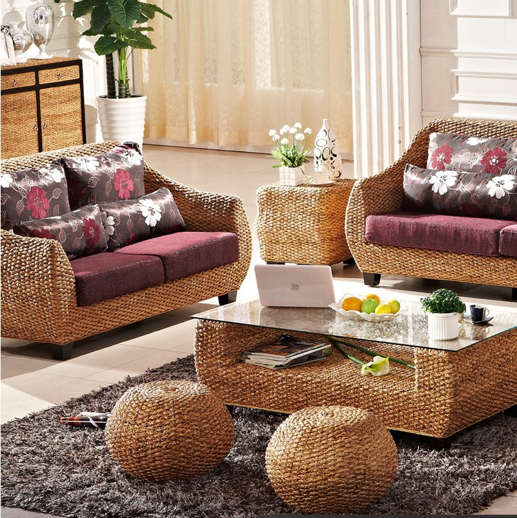 Moda ocio rat n mimbre sof muebles de exterior en jard n sof s de muebles en - Sofa de mimbre ...