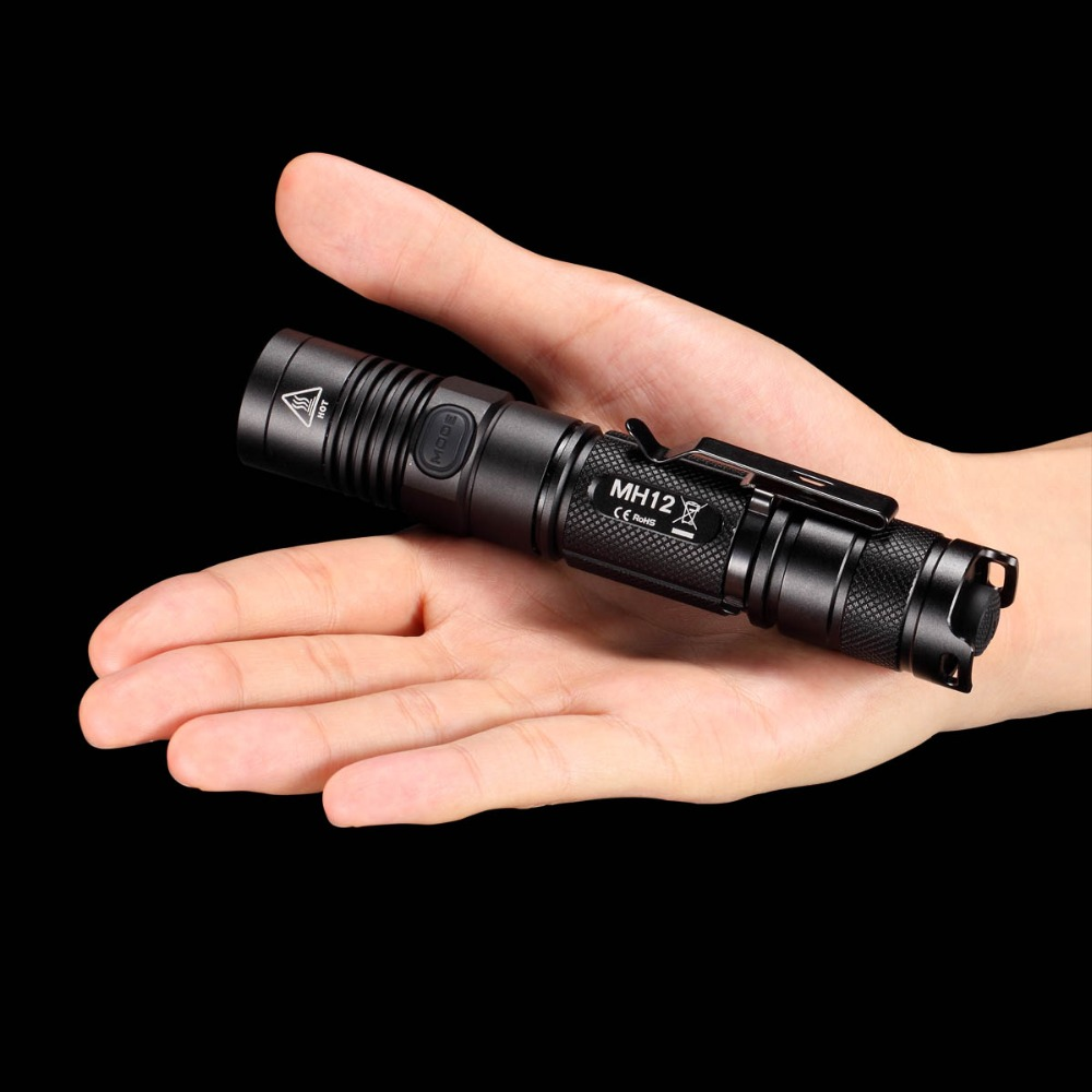 NITECORE MH12 Cree XM-L2 U2 LED Rechargeable flashlight 1000lm Search Rescue Portable torch Without 18650 battery Free shipping nitecore mh2a 600 lumens u2 led rechargeable flashlight military outdoor tactical torch without battery free shipping