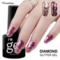 Verntion Pink Color Series Nail Gel Led UV 3D Diamond Glitter UV Nail Gel Polish soak off Sequin bling Cheap Nail Gel Lacquer