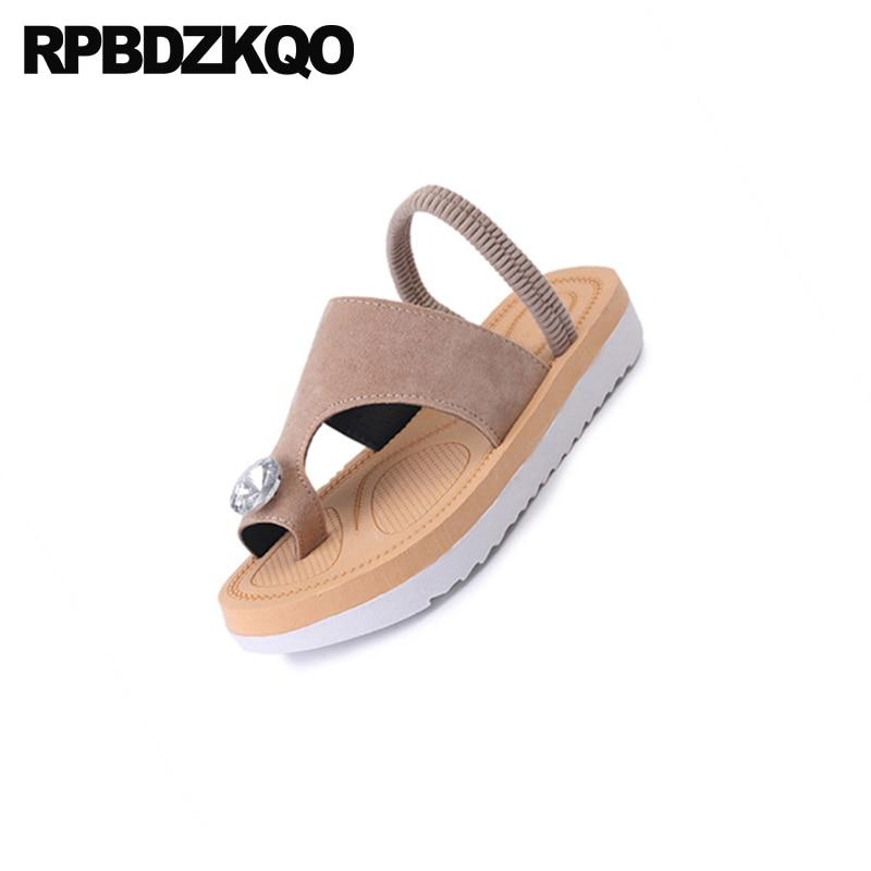 Women Sandals Flat Casual Beach Suede Toe Ring Diamond Flatform Shoes Strap Nude Cheap Slides Platform Rhinestone Jewel Crystal