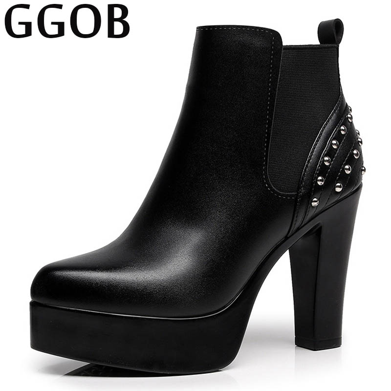 GGOB New Womens Boots Square Heel Pointed Toe Dunk High Ankle Boots Elegant Rivet Casual Fashion Handmade Thick Bottom Brand camel camel boots cowhide thick heel rivet velvet fashion pointed toe boots vintage casual thermal boots