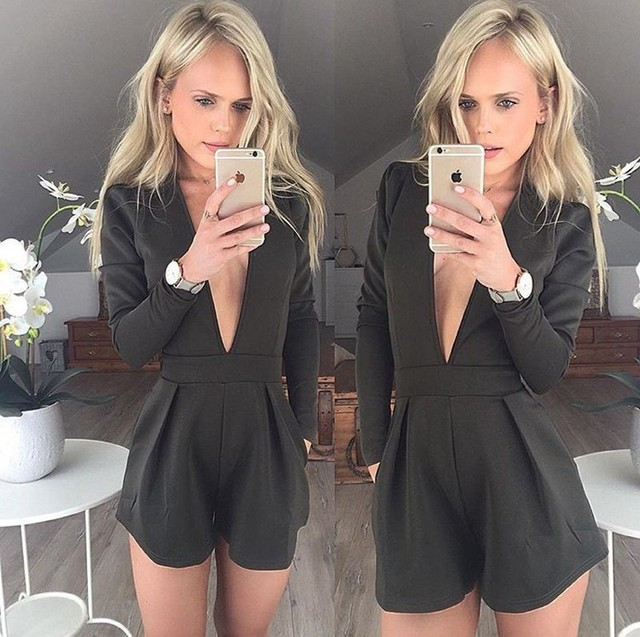 Black Rompers Womens Jumpsuit 2016 Sexy Lady V Neck Long Sleeve Short Jumpsuits Bodysuits Monos Womens Overalls Macacao Feminino