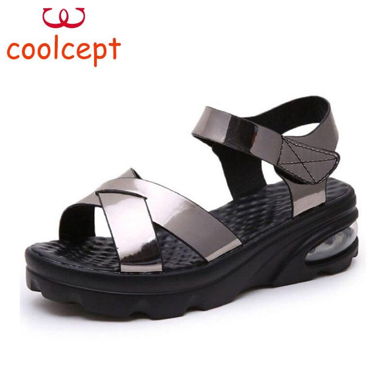 Coolcept Women High Heels Sandals Wedges Classics Party Club Daily Shose Women Summer Vacation Beach Footwear Size 35-39