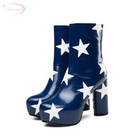 British street style round toe genuine leather ankle boots star zipper black blue high heel thick riding boots women's shoes