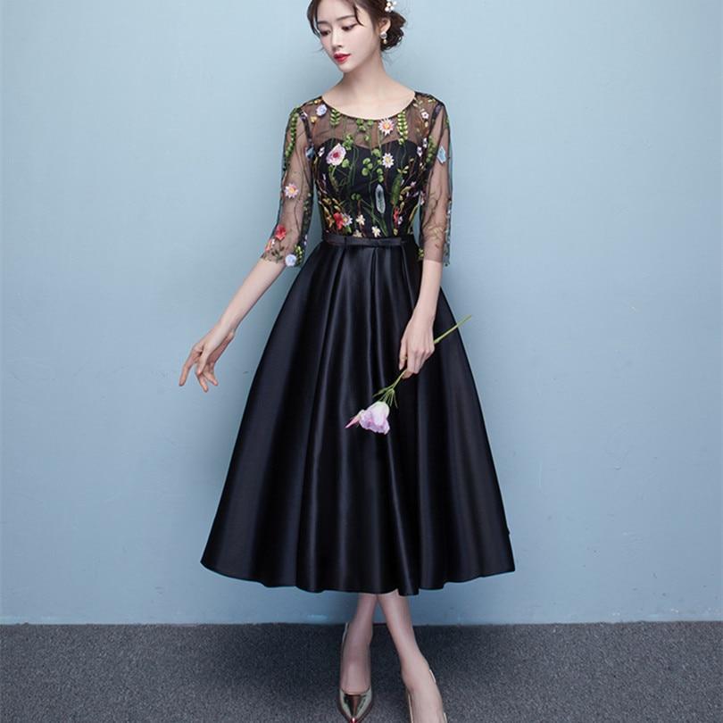 Cheap black tea length dresses