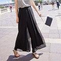 2017 Nova Moda Lady Chiffon Perna Ampla Calças de Cintura Alta Longas Calças Soltas Culottes Especiais Projetados Elegantes Mulheres Calças de Verão