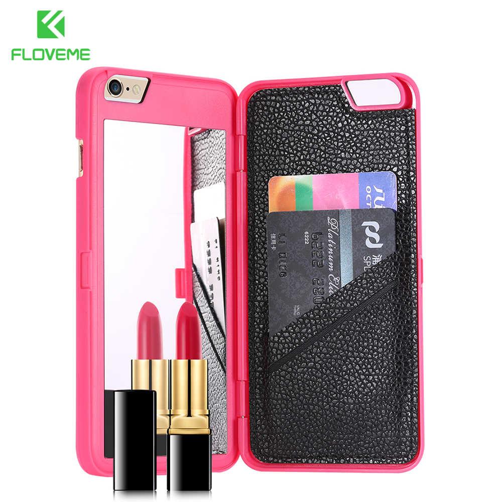Etui floveme dla iPhone 7 Plus 6 6S Plus 3D portfel z kieszeniami na karty lustro do makijażu etui z klapką etui dla iphone'a x 8 8 Plus size kobiety przypadkach akcesoria