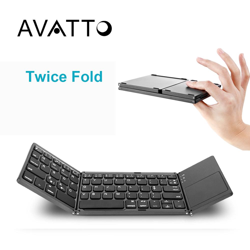 Prix pour [AVATTO] Métal A18 Portable Pliant Deux Fois Bluetooth Clavier BT Sans Fil Pliable Touchpad Clavier pour IOS/Android/Windows Tablet