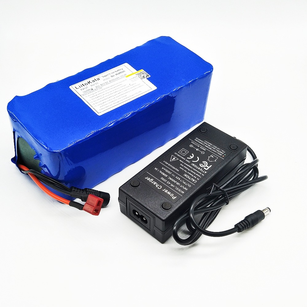 HK Liitokala 36 v 8ah Haute Capacité Au Lithium Batterie + colis d'une Masse comprennent 42 v 2A chager