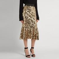 Shiny Gold Sequin Skirts Women Customized Tee Length Midi Skirt Modern Fashion Ruffles Skirt Spring Autumn Style