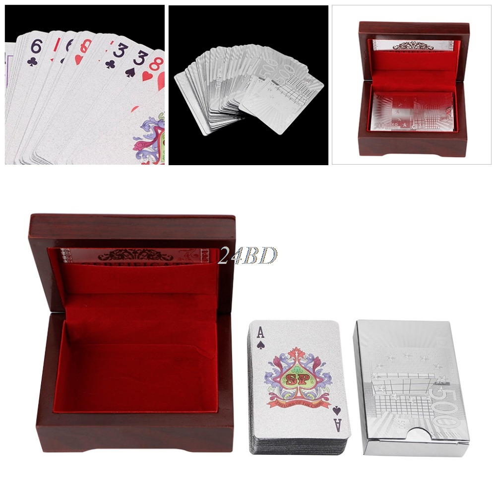 Waterproof Silver Foil Plated Poker Playing Cards For Casino Table Game With Box A27