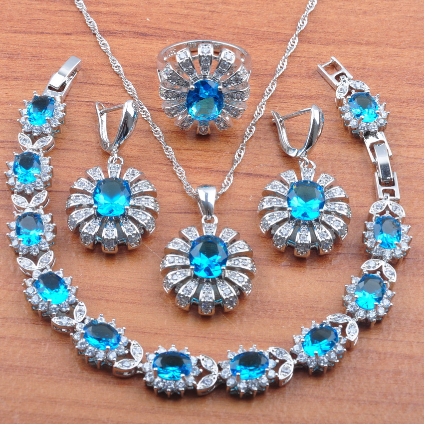 Wedding-Jewelry-Sets Earrings Necklace Bracelet-Set Pendant-Rings 925-Sterling-Silver