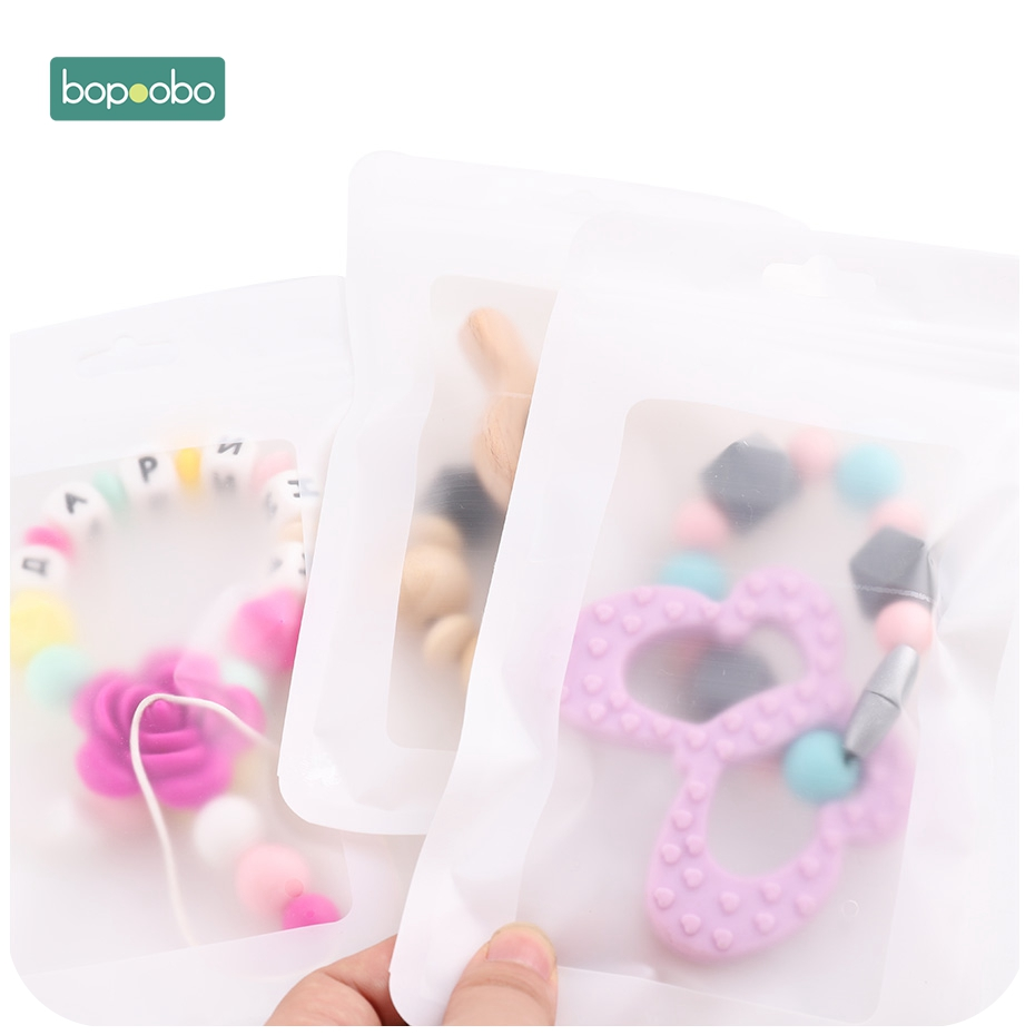 Bopoobo 10pc Plastic White Bags White 11.5x19.5cm Display Bags Ecofriendly Baby Silicone Beads Package Jewelry Pendant Bags