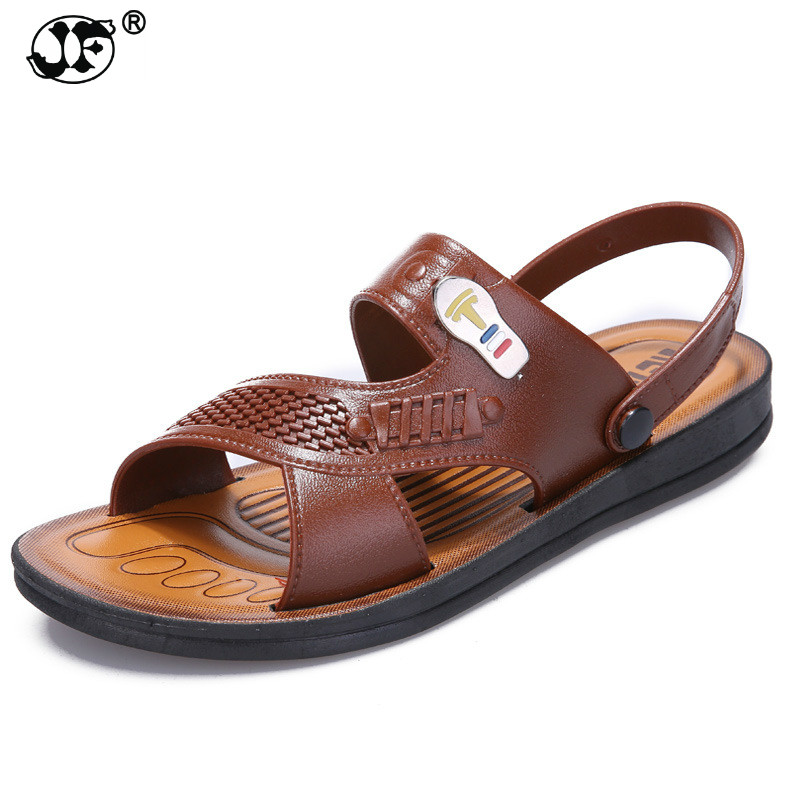 Sandals for Men Slip-on Summer Shoes 2018 Casual Brown Khaki Sandals Leather Summer Flat Sandals Men