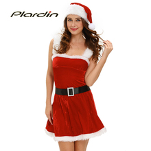 Plardin 2016 Winter Sexy Red Velvet Dress Classic Christmas Santa Claus Hat Three-Piece Suit Hat Red Party Bodycon Mini Dresses