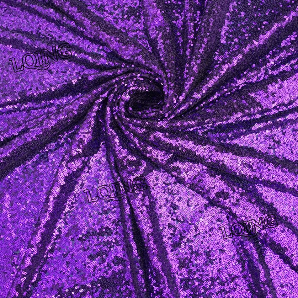 1 yard purple sequin fabric tissus paillette embroidered for Sparkly fabric
