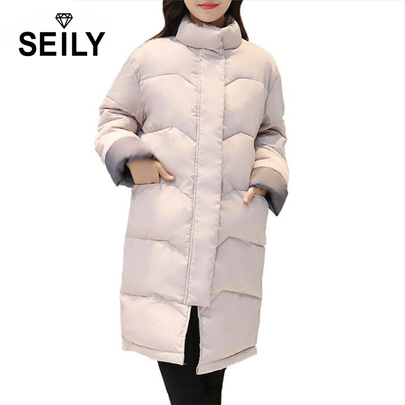 цена на Seily Plus Size Thickened Long Winter Down Cotton Puffer Jacket Turtleneck Windproof Coat Quilt 2017 Fashion Women Quilted Parka