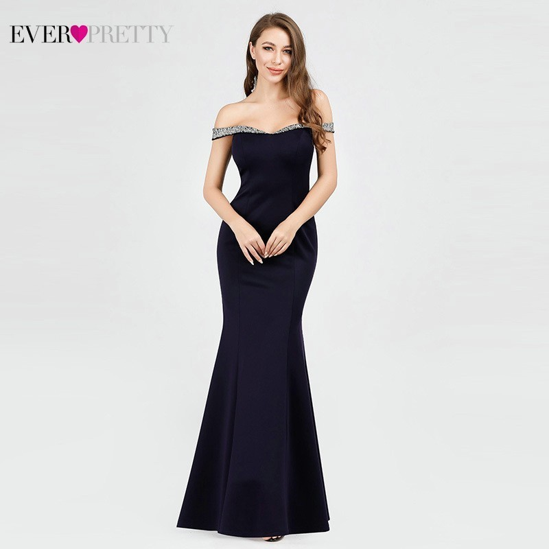 Navy Blue Long Evening Dresses 2019 Ever Pretty EP07941NB Mermaid Sequined Boat Neck Off The Shoulder