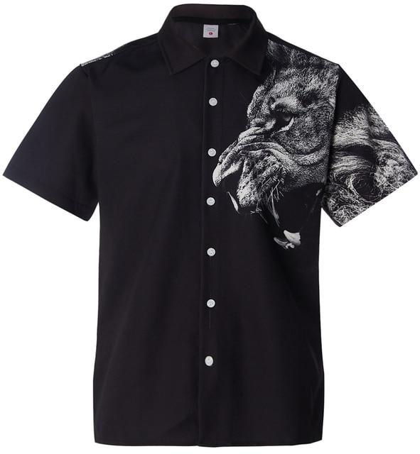 Lion Printed Shirt Men T-shirts / Shirts color: Black