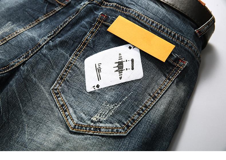 KSTUN Men's Shorts Jeans Dark Blue Stretch Retro Fashion Pockets Designer Poker Printed Ripped Biker Motor Jeans Denim Pants 15