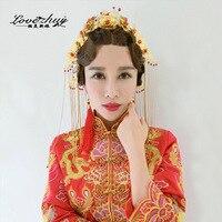 2016 Venda Direta Clássico Chinês Borlas Flores de Cabelo Noiva Tiara Cocar Coroa Traje