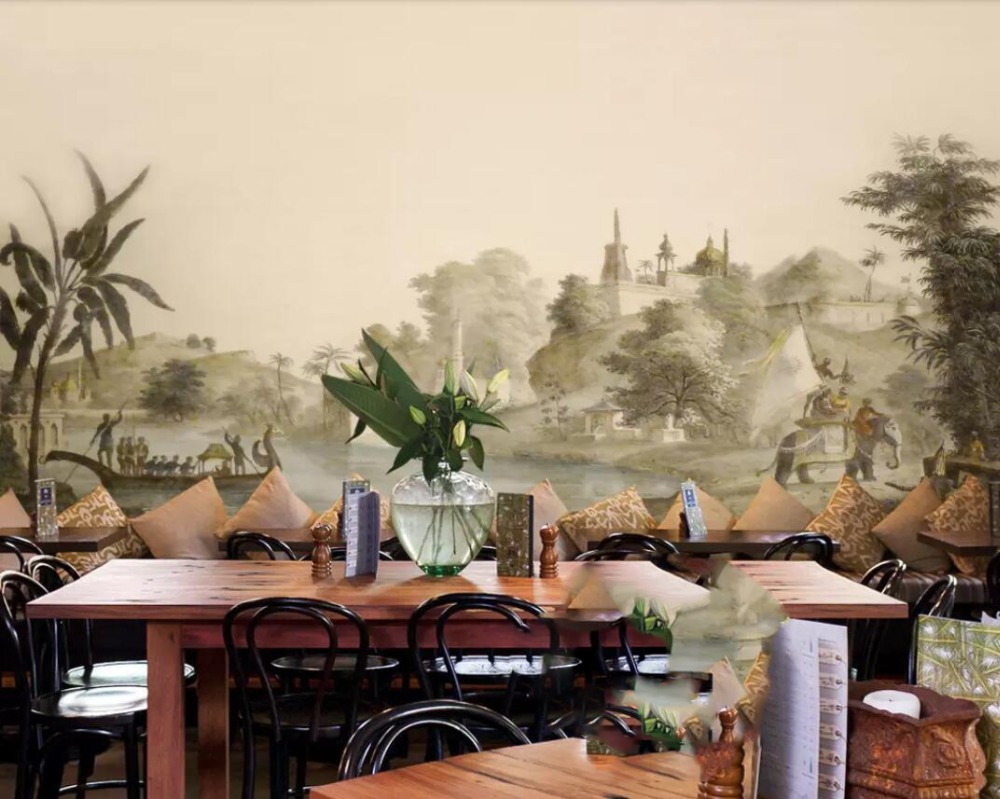 European-style Retro Hand-painted Southeast Asian Pastoral Castle Elephant Mural Background Wall