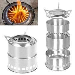 Portable Mini Camping Stove Stainless Steel Wood Burner Furnace Cooker Outdoor pinic tools camping equipment party bbq