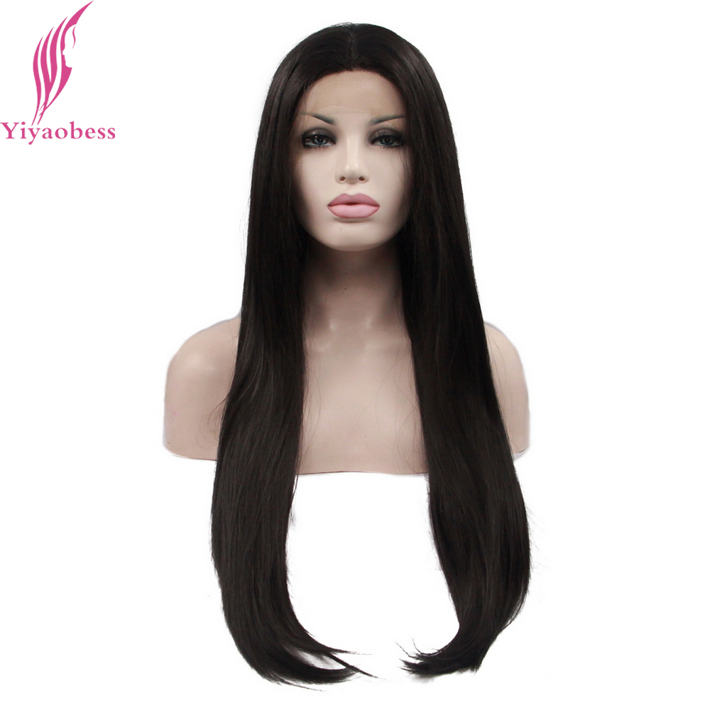 Yiyaobess 1# Heat Resistant Natural Straight Synthetic Lace Front Wig Long Black Wigs For African American Women ...