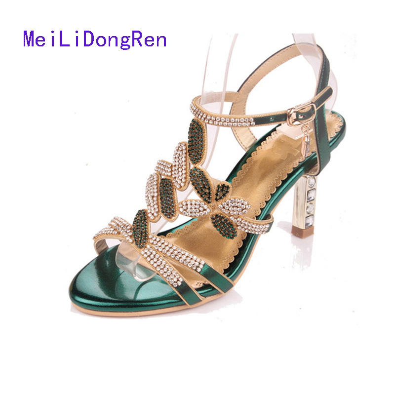 Fashion Diamond High-heeled Sandals Women Summer Shoes Open Toe Back Buckle Bohemian Rhinestone Party Sandals summer women leather high heeled shoes sandals rhinestone pump sandals ladies open toe slippers plus size 33 41