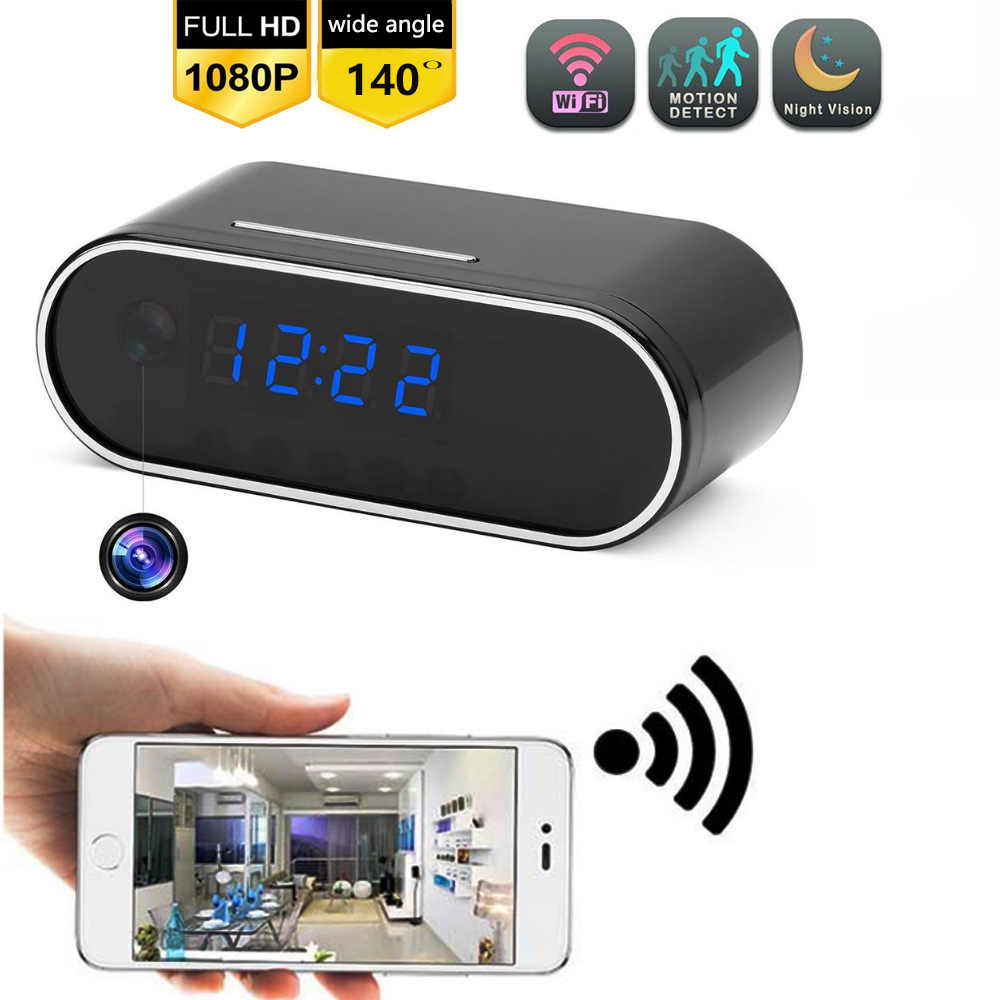 1080P WIFI Mini Camera Time Alarm Wireless Nanny Clock P2P IP/AP Security Night Vision Motion Sensor Remote Monitor hidden TFcar