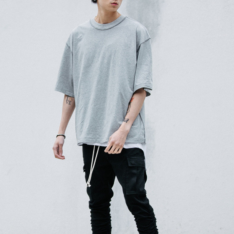 Man streetwear Kanye WEST style clothing men T shirts Extended white/grey/black oversized tee homme hip hop half sleeve T shirt gown