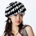 Fashion Women's Genuine Real Knitted Mink Fur Berets Hats Rex Rabbit Fur Patchwork Lady Warm Caps VF0499
