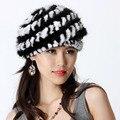 Mujeres de la manera Real de Punto de Visón Genuino Boinas Sombreros de Piel de Conejo Rex Patchwork Señora Warm Caps VF0499