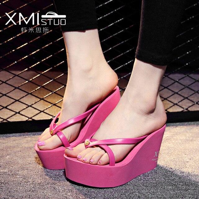 e9b561e5e9bb summer Slippers women New overheight with Beach flip flops Muffin cake  sandals shoes woman