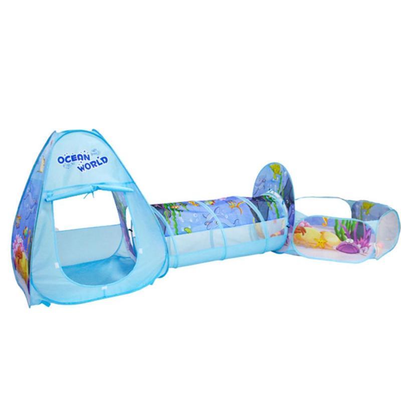3pcs/Set Folding Pool-Tube-Teepee Baby Play Tent House Tunnel Ball Pool Cartoon Ocean Style Tent Toy for Kids Fun Play Toys цены онлайн