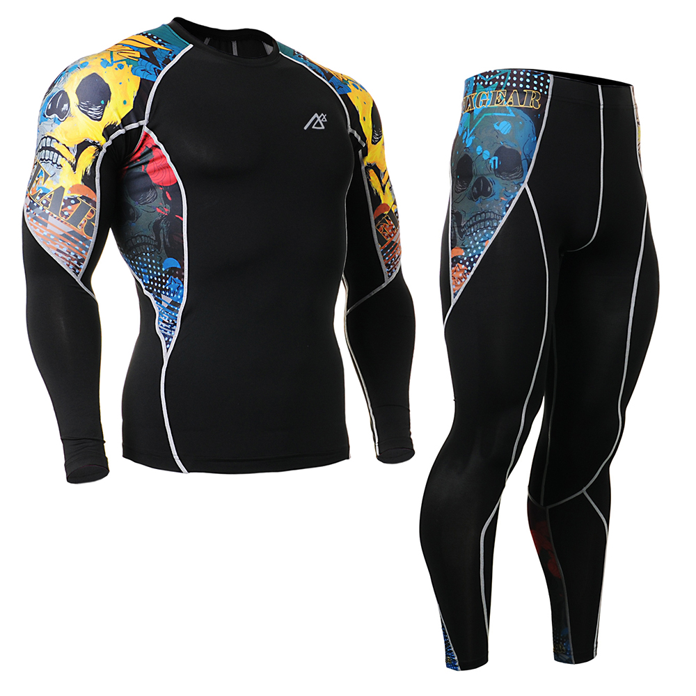 Mens Bodybuilding and Fitness Clothes Set Compression Pants & Sports T Shirt Long Sleeve 4 Way Stretch C2L_P2L Running Tights