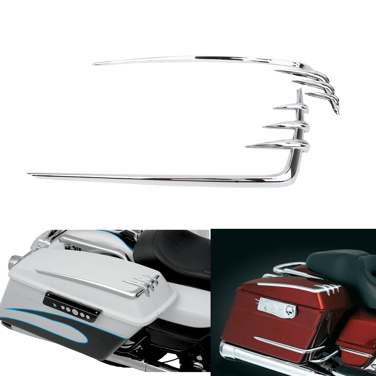 1Pair Chrome Saddle Box Saddlebag Lid Accents Cover For Harley Road King Electra Tri Glide Motorcycle