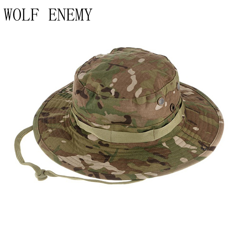 44ae95b20e High Quality Tactical Airsoft Sniper Camouflage Boonie Hats Men and Women  Outdoor Mountaineering Cap Military Hunting