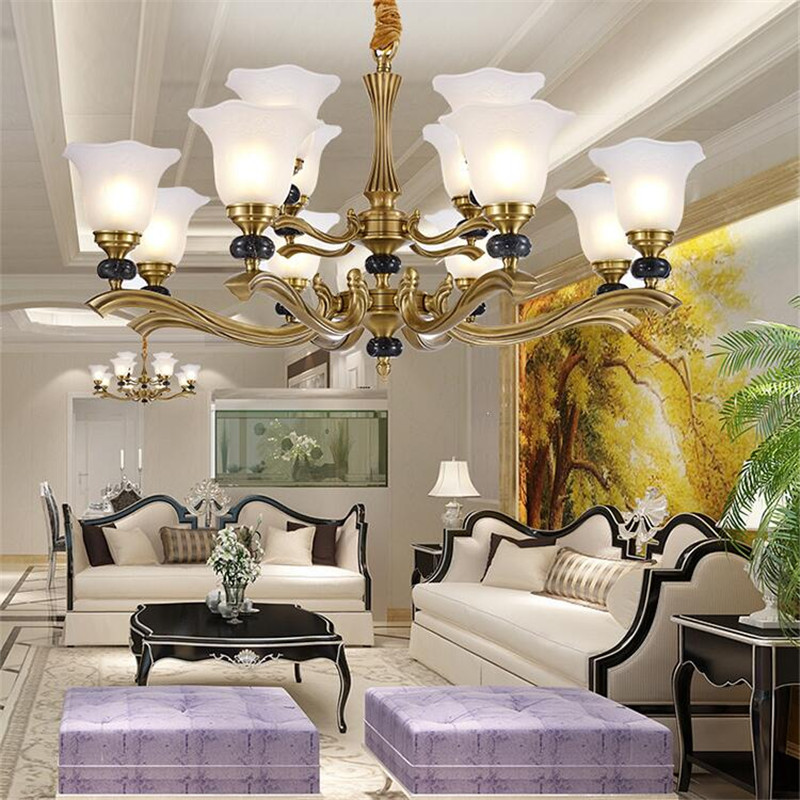 L91 Luxury European style copper chandeliers office hotel lobby living room home aisle villa duplex floor simple jade lamp