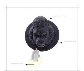 الشمبانزي دغة خط الجدار مصباح الإبداعية آخر الحديثة الحيوان قرد كبير مصمم نموذج غرفة فندق نادي فيلا مصابيح