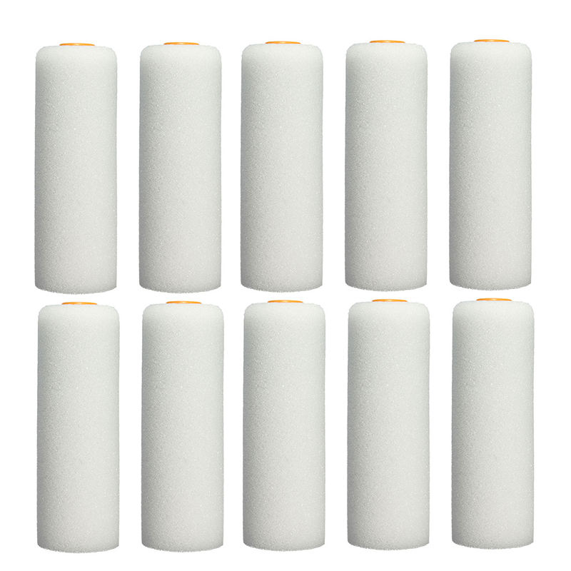 10PCS/set 100mm Mini White Durable Foam Paint Roller Sleeves Painting Decorating Sponge Rollers Art Sets Painting Supplies
