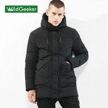 Boxing Day Wildgeeker Men's Winter Parkas 2017 Solid Color Long Style Female Cotton Jacket Medium-Long Thick Coat Men For Winter Size M-3XL
