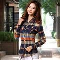 Camisa gola da camisa manga comprida blusa xadrez Magro Coreano 2017 nova moda outono casual imprimir shirt mulheres M-XXL 11 cores A975